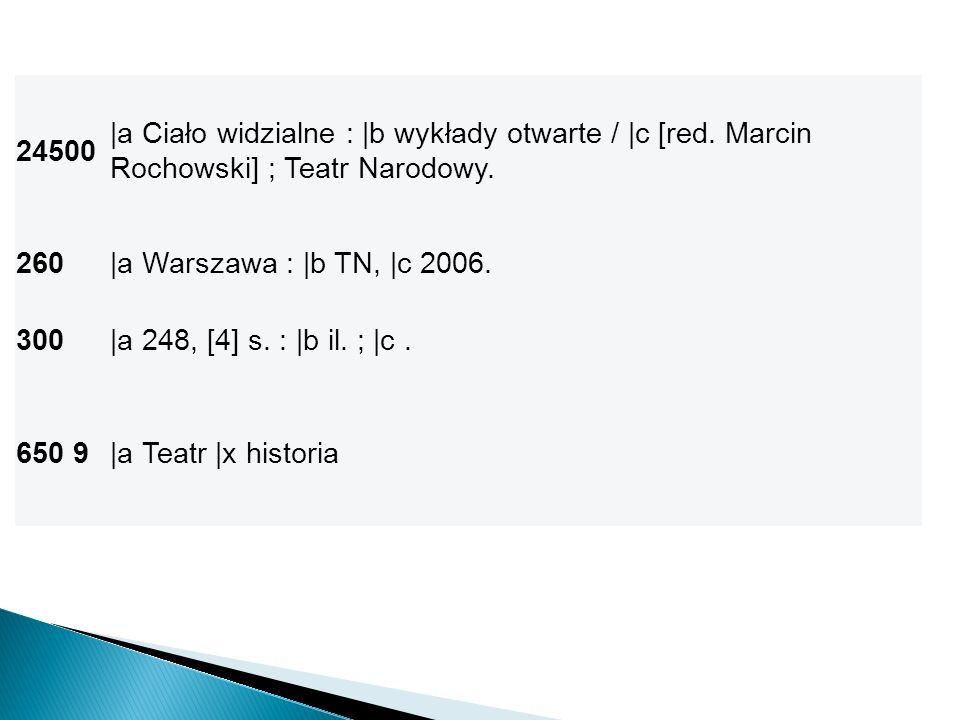 24500 |a Ciało widzialne : |b wykłady otwarte / |c [red. Marcin Rochowski] ; Teatr Narodowy. 260. |a Warszawa : |b TN, |c 2006.